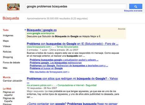 google problemas búsquedas