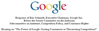 Carta de Google al senado