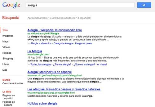Alergia en Google