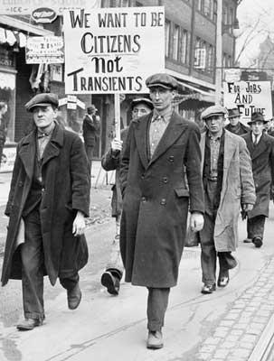 Manifestación de desempleados durante la Gran Depresión